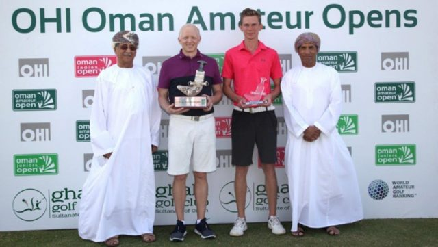 Max Burrow and Mikkel Mathiesen receive their trophies from Maqbool Al Saleh, Chairman of OHI and Mundhir Al Barwani, Chairman of Oman Golf Committee.