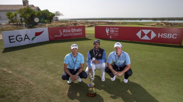 Dominic Foos, Saif Thabet, and Callum Shinkwin after the qualifying tournament at Yas Links. Courtesy Abu Dhabi HSBC Championship presented by EGA